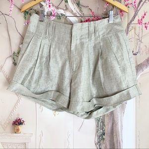 Rebecca Taylor Gold Pleated Cuff Shorts